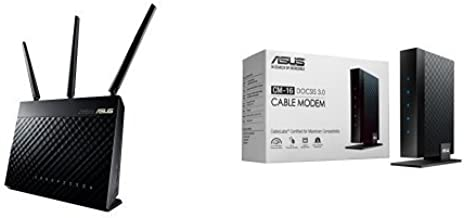 ASUS Dual-band Wireless-AC1900 Gigabit Router (RT-AC68U) and ASUS DOCSIS 3.0 High Speed 16 x 4 Cable Modem