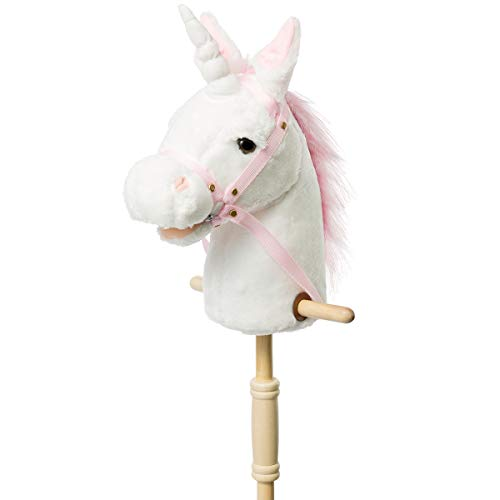 HollyHOME Plush Unicorn Stick Horse with Wood Wheels Real Pony Neighing and Galloping Sounds Plush Toy White 36 Inches(AA Batteries Required)
