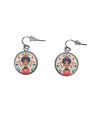 Edelstahl hängende Ohrringe, Durchmesser 20mm, handgemacht, Illustration Frida Feminist 2