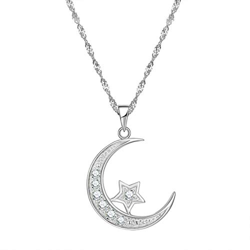 "GemsChest Sterling Silver Cubic Zirconia Crescent Moon Star Pendant Necklace 18"" Chain"