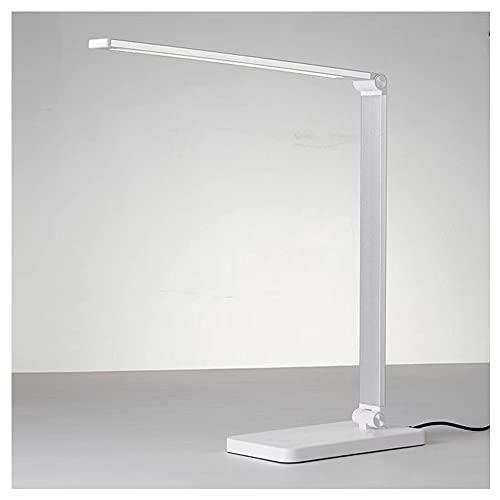 Lámpara Escritorio LED,Flexo de Escritorio con,Conexión WiFi,Control por Voz,Control táctil,5niveles de Brillo,Modos, Carga inalámbrica,Puerto de Carga USB [Clase energética A+] (Color : White)