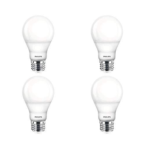 Philips LED Dimmable A19 Frosted Light Bulb, 9.5 Watt (60W Equivalent), 800 Lumens, 2700K Soft White, E26 Medium Base, Energy Star, 4 Pack