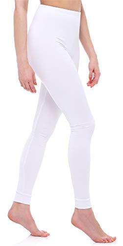 Ladeheid Leggins Térmicos Largos Mujer LA40-149(Blanco, XL)