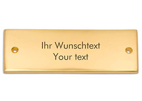 Namensschild mit persönlicher Wunschtext aus hochwertigem Messing, 125 x 45 mm, rechteckig – Messingschild