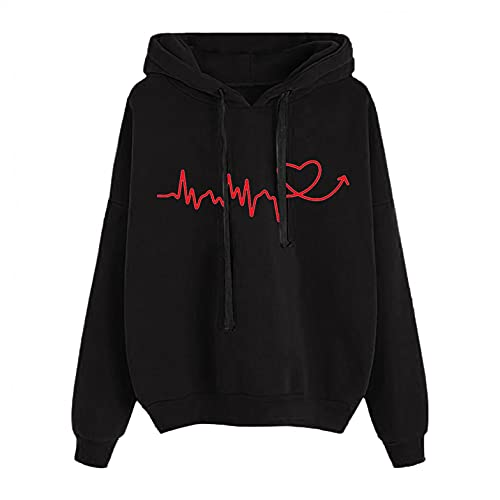 Toeava Hoodies for Women,Womens Heartbeat Print Drawstring Hooded Shirt Loose Top Long Sleeve Pullovers Sweatshirt Top