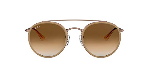 Ray-Ban 0RB3647N, Gafas de Sol Unisex Adulto, Marrón (Bronze Copper/Light Brown Gradien), 51