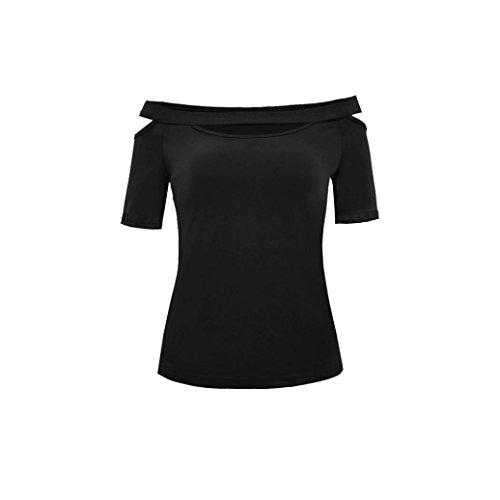 Un Hombro Camisetas para Mujer, Covermason Blusa de Manga Corta con Cuello en V para Mujer(L,Negro)