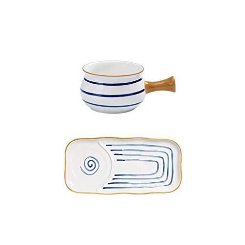 DHCZZRS774 Platos de Comida Pintado a Mano Retro Serie manija de cerámica tazón del Desayuno 2 Piezas Conjunto Segura vidriado Linda Platos de Cena pequeños (Color : B)
