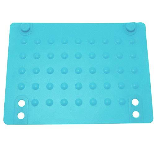 Alfombrilla de silicona resistente al calor, alfombrilla de protección contra el calor con cierre a presión y diseño de punto de onda para alisador de cabello rizador, azul