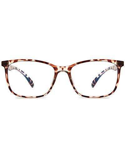 ANRRI Blue Light Blocking Computer Glasses, Anti Eyestrain UV Filter Lens Lightweight Frame Eyeglasses, Transparent(Leopard)