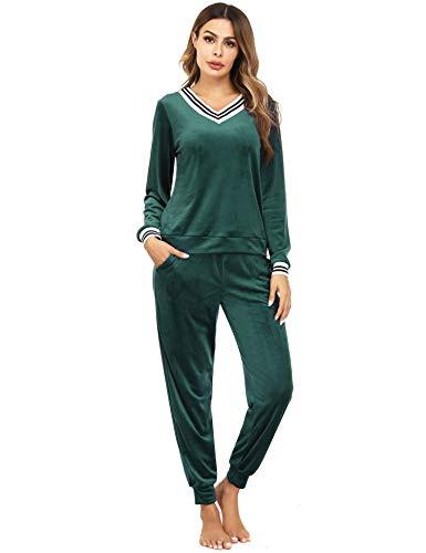 Irevial Damen Velours Hausanzug Nicki Schlafanzug Lang Winter Weicher Pyjama Anzug Set Zweiteiliger Flanell Trainingsanzug Oberteil und Hose mit Taschen,Grün,XL