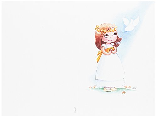 Mopec Portafoto de Primera Comunión de niña con fajín Amarillo, Pack de 25 Unidades, Cartulina, Blanco, 0.02x11.50x17.00 cm