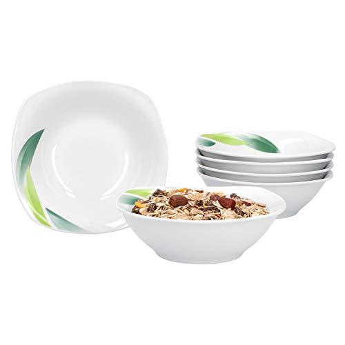 Van Well | Set van 6 mueslischaal Siena | 250-350 ml | serveerschaal | schaaltjes voor soep, salade, snacks en dessert | bladdecoratie groen | edel porselein