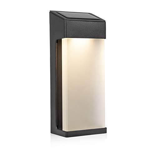Smartwares OSL-50009 LED Solar-Wandleuchte, mit Hochleistungs-Akku, mattierte Glasabdeckung, Aluminiumrahmen, Anthrazit