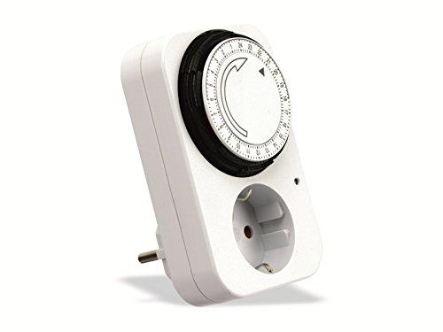 Zeitschaltuhr Mechanisch mit Kindersicherung | 24 Stunden Analog Steckdosen-Schaltuhr | Analoger Timer für max. 240V, 3500W (Weiß)