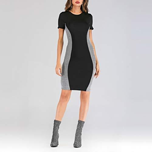 Jasje Ronde Hals Stikken zilverdraad Slim Fit sexy jurkje, Maat: XL (zwart). (Color : Black, Size : XL)