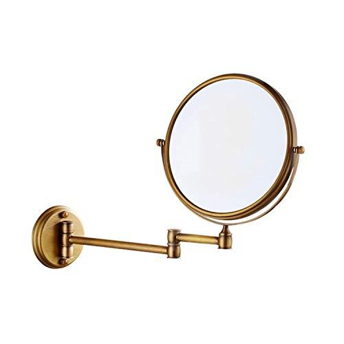 LULUDP Badspiegel Wand- Make-up Spiegel Folding Rasierspiegel Bad Beauty Spiegel Wandbehang Teleskop 8-Zoll-Make-up-Spiegel Double Sided 3X Lupe (Color : Bronze, Size : 8 inch 3 X)