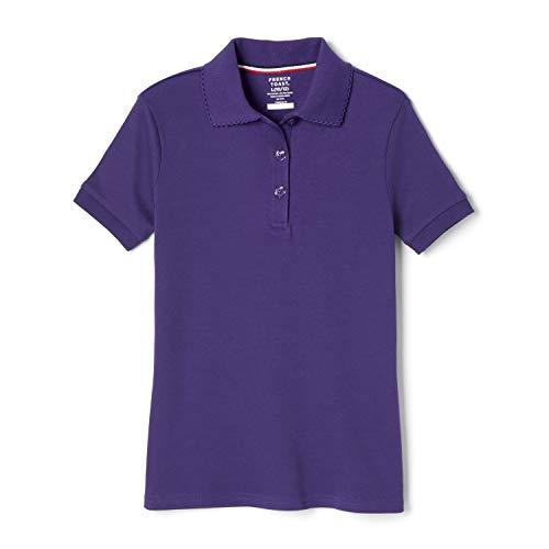 French Toast Big Girls Short Sleeve Picot Collar Interlock Polo, Purple, Medium/7/8
