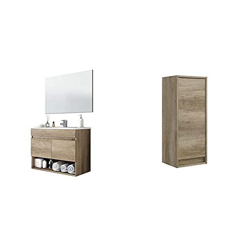 Arkitmobel Mueble De Baño Suspendido con 2 Puertas Y Espejo, Modulo Colgante, Modelo Cotton + Columna De Baño Suspendido 1 Puerta, Mueble Lavabo, Modelo Dakota