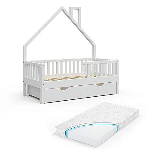 VitaliSpa Hausbett Kinderbett Spielbett Noemi 70x140cm Rausfallschutz (Weiß, Schubladen & Matratze)