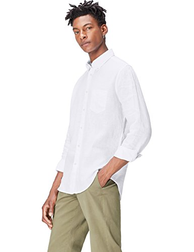 find. Regular Linen, Chemise Coupe droite Uni Col À Boutons Manches Longues Homme, Blanc (White), 40 (Taille fabricant: M)