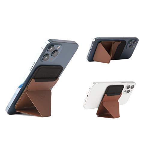 MOFT マグネットスマホスタンド iPhone 12シリーズ用MagSafe対応 カードケース機能 フロートタイプ角度調節 薄型軽量 折り畳み式 複合材質 内蔵磁石十六個 (ブラウン)