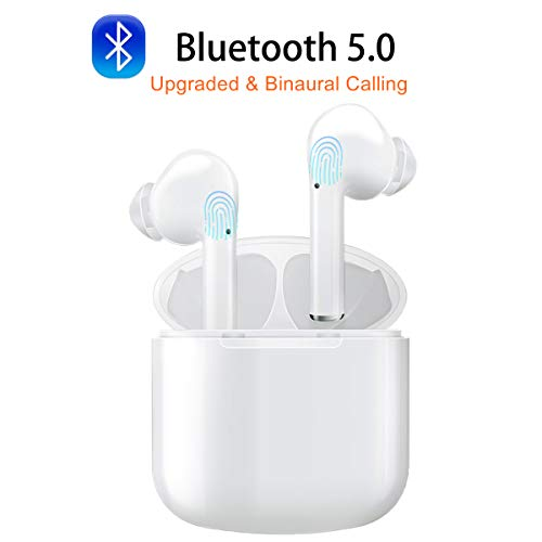 AUDIMI Bluetooth Earphones Wireless Earbuds Bluetooth Headphones Bluetooth 5.0 Headsets Auto Pairing Mini in-Ear Noise Canceling Earphones with Charger Case Hands-Free Calls for Driving Travelling