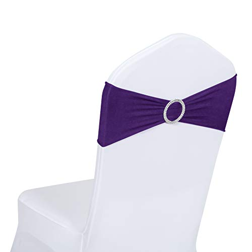 Obstal 50 PCS Spandex Stretch Chair Sashes Bows for Wedding Reception- Universal Elastic Chair Cover Bands with Buckle Slider for Banquet, Party, Hotel Event Decorations Purple Sashes
