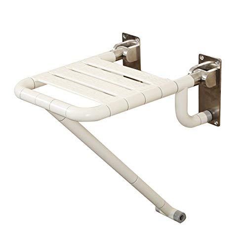 Taburete ducha plegable de alta resistencia Silla de taburete de seguridad para baño montada en la pared, acero inoxidable 304, nylon antideslizante, con pata de apoyo y patas de refuerzo,Blanco
