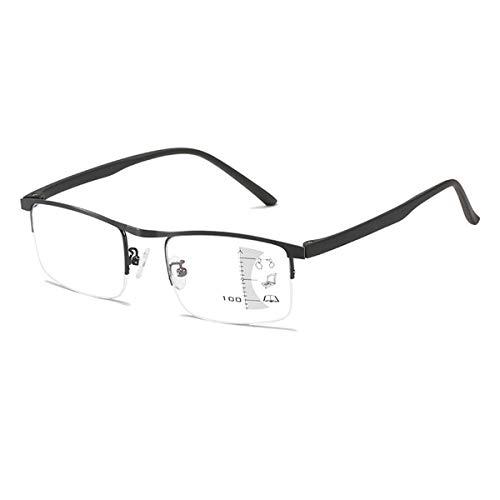 LGQ Gafas con Lector de Zoom automático, Lente multifocal Anti-luz Azul, Montura de Medio Borde de Metal, dioptría de Doble propósito lejano y cercano de 1,00 a 3,00,Negro,+1.50