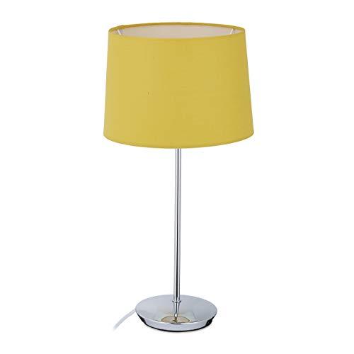 Relaxdays Lámpara de mesa con pantalla de tela, base cromada, casquillo E14, para salón y dormitorio, lámpara de noche moderna, color amarillo