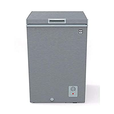 Avanti CF353M3S Slim 20x22x34 Inch 3.5 Cubic Foot Capacity Stand Alone Upright Ice Chest Deep Freezer with Defrost and Removable Storage Basket, Silver