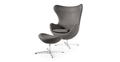 Kardiel Egg Chair & Ottoman, Cadet Grey Tweed Cashmere Wool