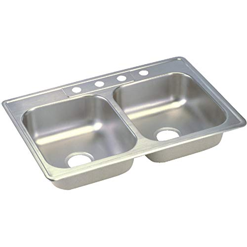 Elkay Sales - Sinks Ns 23319 33 X 19 X 6-1/4-Inch Stainless-Steel Double-Compartment Mobile Home Sink Kitchen, Stainless Steel