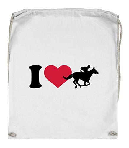 Druckerlebnis24 Turnbeutel - I Love Pferde Rennen - Stoffbeutel aus Bio Baumwolle