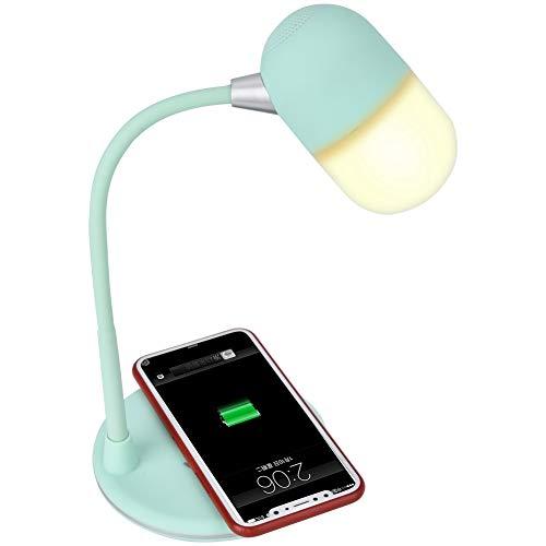 Multifunctioneel bureau Bluetooth-lamp Muziek Stereoluidspreker/Draadloze telefoon Oplaadpad/Mini Nachtlampje met aanraakbediening Dimmer Flits Stap Helderheid(Groen)
