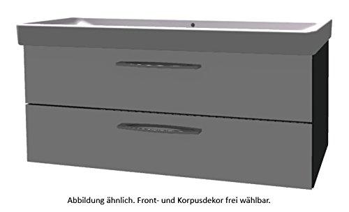 PELIPAL Solitaire 9005 Set K148-2L: Keramik Doppelbeckenwaschtisch Keramag Smyle, Weiß + Unterschran