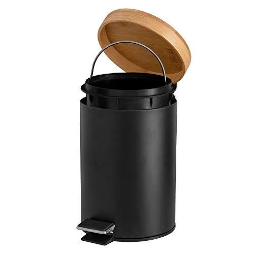 Solly´s 3l Kosmetikeimer mit Bambus Deckel, Abfalleimer, Mülleimer mit Absenkautomatik, Treteimer für das Bad