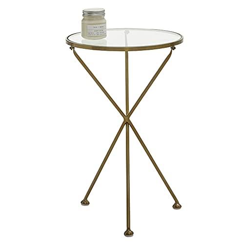 LUO Tavoli Tavolino Rotondo, Tavolino Minimalista con Pannello in Vetro Temperato e Gambe di Ferro, Mobili da Soggiorno Moderno, Piccolo Spazio, Oro