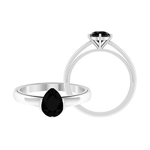 Rosec Jewels - Anillo de diamante negro en forma de pera de 6 x 8 mm, 1 CT creado en laboratorio, anillo solitario de diamante negro, 14K Oro blanco, Size:EU 49