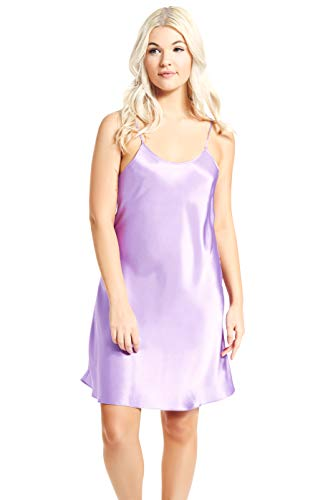 Jovannie Regular/Long Length Satin Chemise Teddy Sleepwear Nightgown Nightie Full Slip Dress Babydoll Nightwear (X-Large, Lavender)