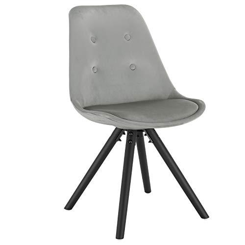 WOLTU® BH196hgr-1 1Stück Esszimmerstuhl, Sitzfläche aus Samt, Design Stuhl, Küchenstuhl, Holzgestell, Hellgrau