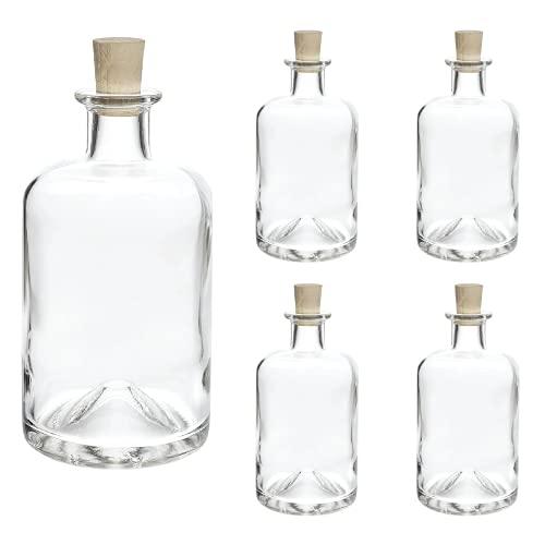 slkfactory - Juego de 4 Botellas vacías de Cristal (1000 ml, 1 litro, 100 cl)