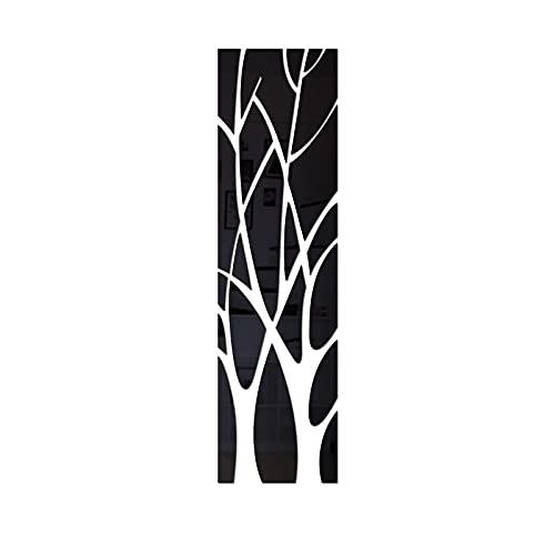 21 piezas 3D árbol espejo pegatinas de pared hogar sala de estar decoración impermeable calcomanía restaurante espejo pared Mural L28x100cm negro