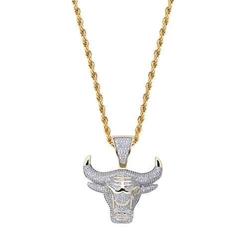 Anhänger Halskette Schmuck Gold Ochsen Kopf Heraus Anhänger Halskette Kristall Zirkon Goldkette Party Herren Halskette Hip Hop Schmuck
