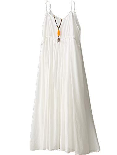 Minibee Women's Cotton Linen Dress Sleeveless Casual Long Skirt White-L