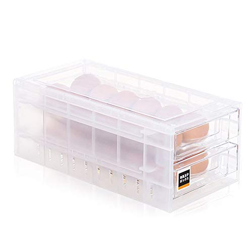 Eieraufbewahrungsbox, Schubladen-Typ Doppelschicht-24-Gitter-Eierhalteretui, große Kapazität Transparent Feuchtigkeitsbeständig Staubdicht Tragbarer Behälter Aufbewahrungsbox für Kühlschränke