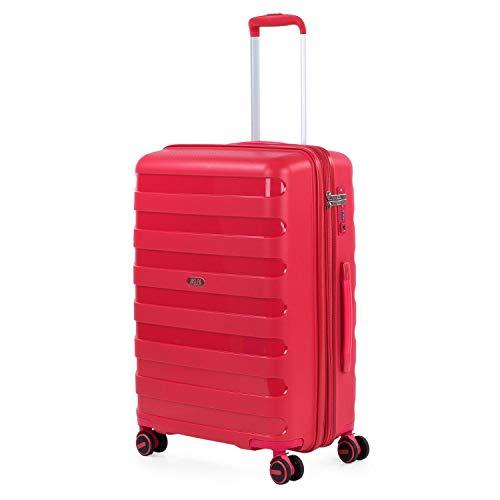 JASLEN - Maleta de Viaje Mediana Trolley Marca jaslen tamaño 60 Fabricada con Polipropileno, un Material y a la Vez candado TSA 4 Ruedas Dobles 161260, Color Rojo