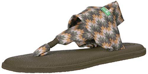 Sanuk Women's Yoga Sling 2 Prints Flat Sandal,olive chevron,8 M US