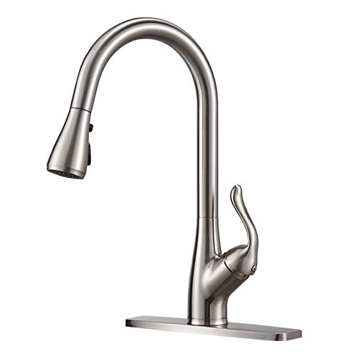 Modern Single Handle Pull Down Sprayer Kitchen Faucet,Brushed Nickel Kitchen Sink Faucets Stainless Steel High arc with Pressure Booster Deck Plate